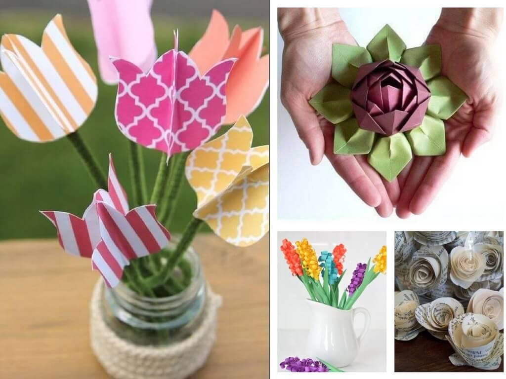 Букет цветов из бумажных цветов своими руками фото 994